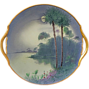 "SALE Pickard H.P. ""Florida Moonlight"" 10 ¾"" Open Handled Plate- signed ""Marker"""
