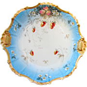 "H.P. Limoges 10 ½"" Strawberry w/Gold Trim Bowl"