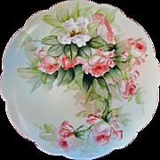 "Limoges H.P. Ester Miler 12 ½"" Charger w/ Peach Roses- signed ""E. Miler"""