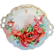"""Limoges H.P. 11 ½"""" Open Handled Cake Plate w/ Orange Poppies"""