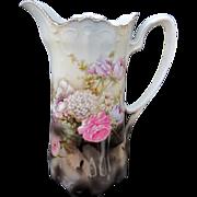 "SALE R.S. Germany 10"" Scalloped Rim Tankard W/Floral Arrangement in Water"