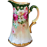 "Limoges H.P. Tankard w/ Rose Cluster  by Pickard artist ""LOBA"""