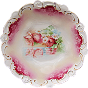 """R.S. Prussia 10 ½"""" Bowl w/ Reflecting Poppies & Red Trim"""