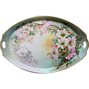 """Hand Painted 16 ½"""" Tray with Dogwoods- artist signed"""
