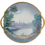 "Pickard H.P. 10 ¾"" ""Classic Ruins By Moonlight"" Cake Plate- signed ""HLC"""