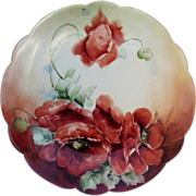 """R.C. Findley Bavaria H.P. 8 ½"""" Scalloped Edge Plate w/Poppies- artist signed"""