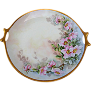 "Selb Bavaria H.P. 11 ¾"" Cake Plate w/Wild Roses- artist signed"
