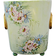 """Limoges France Hand Painted 10 ½"""" Cache Pot w/Daisy & Wild Flowers"""