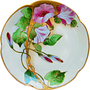 "SALE Donath Studios H.P. 8 ½"" Plate w/ Fuchsia Pastel Morning Glories & Gold ..."