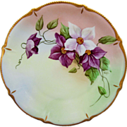 "Pickard H.P. 8 ½"" Cake Plate w/ Purple & White Clematis- signed ""Wight"""