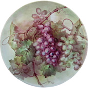 "SALE T&V Limoges H.P. 13 ½"" Plaque w/Red & Green Grape ..."