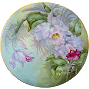 """SALE Limoges H.P. 8 1/2"""" Plate- Cattleya Orchids with Pastel Background- artist signed .."""