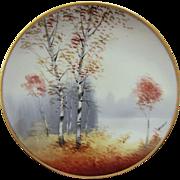 "Osborne Art Studio H.P. ""Autumn Birches with Lake in Background"" Vellum Cake Plate- signed"