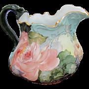 T&V Limoges H.P. Cider Pitcher w/Peach Roses & Pastel Décor