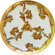 """SALE J.H. Stouffer Company 8 ¾"""" Plate with Gold & Amber Plumes by Pickard Artist ..."""