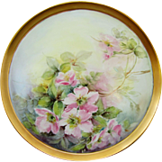 "Hand Painted 12 ¼"" Wild Pink Roses Tray w/Gold Border"