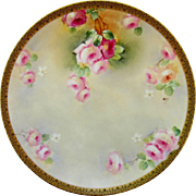 "Limoges H.P. 12 ¼"" Pink & Red Roses Charger- signed ""Colon"""