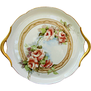 "Jean Pouyat Limoges 10 ½"" Peach Roses Handled Tray- artist signed ""G.B.A."""