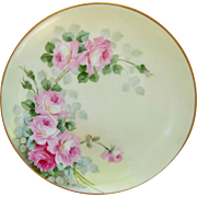 "SALE Thomas Bavaria 8 ½"" Pink & Red Roses Plate- artist signed ""W. Wilson"""