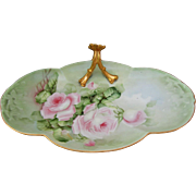 "SALE William Guerin Limoges H.P. 10 ½"" Split Flower Handle Tray w/Pink Roses"