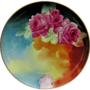 "Haviland France H.P. 9"" Red Roses Cake Plate w/ Pastel Floral Décor- artist signed ..."