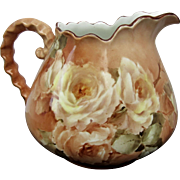 SALE Antique 1907 Hand Painted Cider Pitcher with White Roses