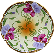 """Stouffer H.P. Plate w/ Lavender and Red Irises & Gold Border- artist signed """"E. Feix"""" ..."""