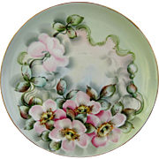 """Limoges H.P. 8"""" Plate w/ Pink Wild Roses & Shadowed Teal Décor- artist signed """"B ..."""