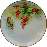 "Kittler Hand Painted 8 ½"" Plate with Currants- Studio of Listed Chicago Artist Joseph R ..."
