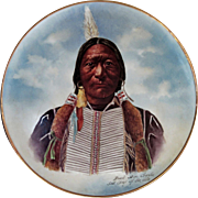 "Limoges H.P. 14"" Native American Plaque ""Buck Skin Charlie, Sub. Chief of the Utes"""