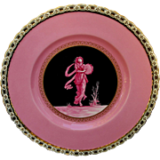 "Minton 8 ¾"" Plate with Neoclassical Scene & Pink Background"