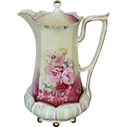 SALE R.S. Prussia Ball Foot Chocolate Pot w/Roses & Red