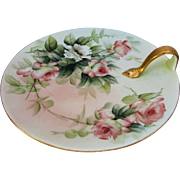 "Limoges H.P. Ester Miler 7 ¼"" Nappy w/ Peach Roses- signed ""E. Miler"""