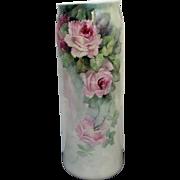 "Belleek H.P. 11"" Vase w/ Pink and Red Naturalistic Roses"