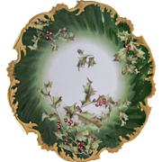 "Limoges T&V France 8"" Holly and Berry Pattern Cake Plate"