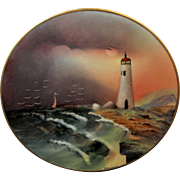 "Edward Donath Studio H.P. 8 ¼"" ""Lighthouse w/ Rocky Coastline"" Landscape Plate by Adolp"