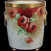 """Limoges H.P. 12 ½"""" Cache Pot w/ Orange Poppies by Chicago Artist """"Osborne"""""""