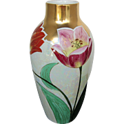 """J.H Stouffer Co. 10 ¼"""" H.P. Vase with Tulips and Lustre"""
