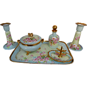 Limoges/Bavarian H.P. Pink Roses w/ Light Blue & Gold Dresser Set w/ Candlesticks by ...