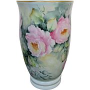 """SALE H.P. Limoges Vase with Pink Roses- Artist Signed """"Rosemary"""""""