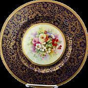 """Minton H.P. 10 ½"""" Cobalt Cake Plate w/Floral Décor- Artist Signed"""