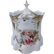 Royal Vienna Germany Lily Mold Cracker Jar with Roses & Gold