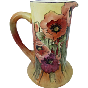 Limoges H.P. Tankard with Stylized Poppies by Artist Ida Ferris