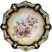 """R.S. Prussia 10 ½"""" Ribbon and Jewel Mold Bowl w/Roses- Deep Powder Blue ..."""