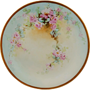 "Limoges H.P. 11 ½"" Pink Roses w/Light Blue & Gold Charger by artist ""Kimmel"""