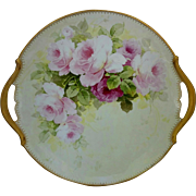 "Limoges H.P. 13 ¼"" Red and Pink Roses Open Handled Charger"