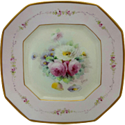 "Pickard H.P. 9 ½"" Octagonal Plate w/Roses and Pink Decor -signed ""Gottlich"""