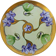 """J.H. Stouffer Company 8 ¼"""" Three Violet Clusters Radiating From Center Cake Plate- artist ."""