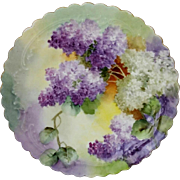 "Limoges H.P. 8 ½"" Ruffled Edge Cake Plate with Lilacs"