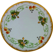 """J.H. Stouffer Company 8 ½"""" Acorns and Leaves Cake Plate by artist Samuel Heap"""